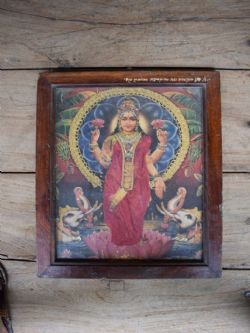 1950s Print of the Goddess Laxshmi with Fabric Embellishment